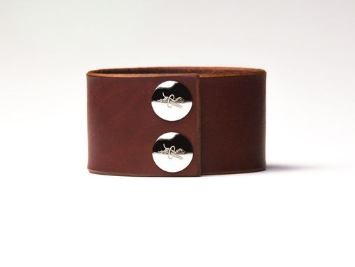 Custom Made Chestnut Brown Leather Cuff - Nickel Fasteners - 1.5 Inches Wide