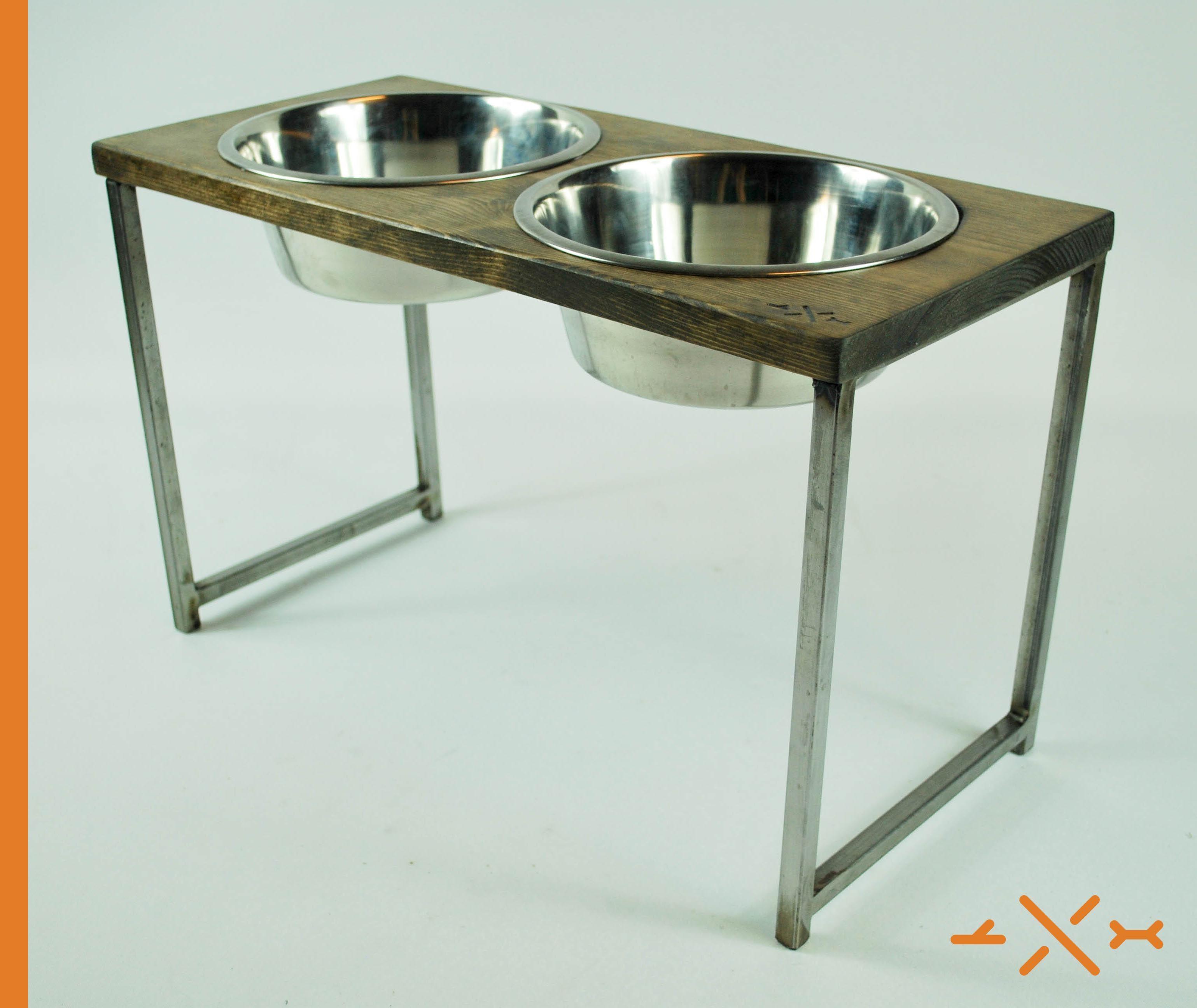 Custom Made Dog Bowl Stand Pet Feeding Station Rustic Diner