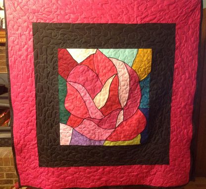 Custom Made Custom Stained Glass Rose Quilt!