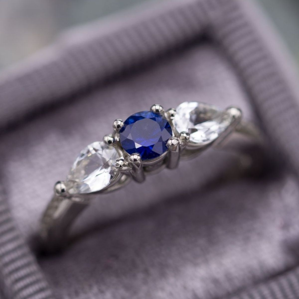 platinum a ring blue white and with gold shown sapphire rings engagement carat diamond jewellery three center stone product