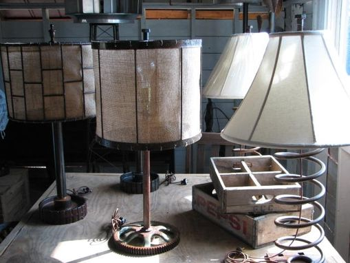 Custom Made Industrial Table Lamp With Reclaimed Gear Base