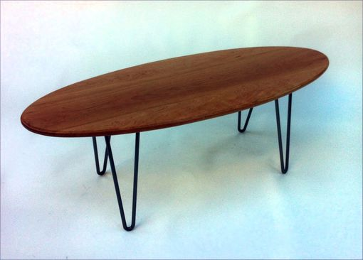 Custom Made Elliptical Shaped Coffee Table With Hairpin Legs