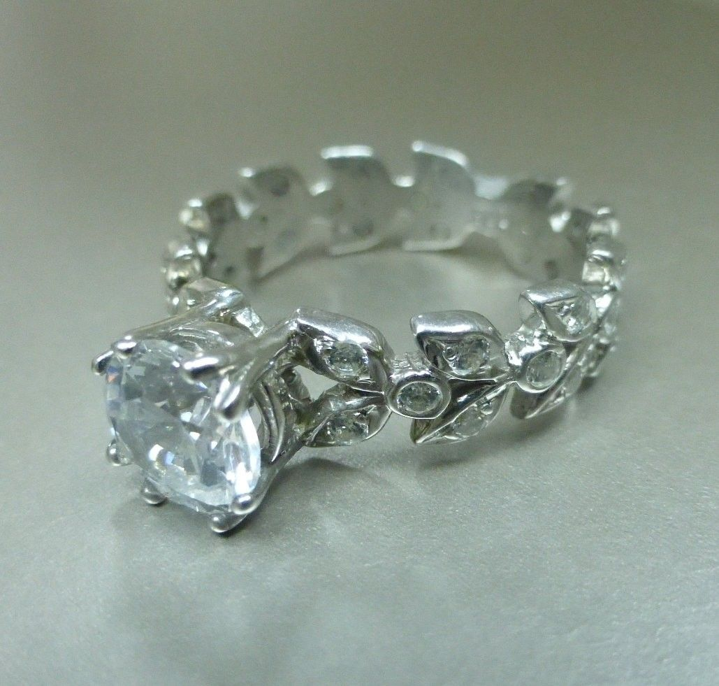 Custom Made Leaf Floral Engagement Ring With Moissanite Center