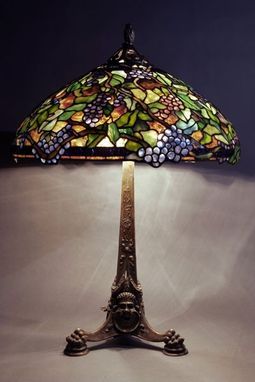"Custom Made 22"" Bacchanale Shade On Bronze Integrated Base"