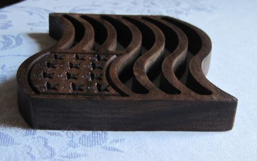Custom Made Patriotic American Flag Handcrafted Carved Walnut Wood Trivet