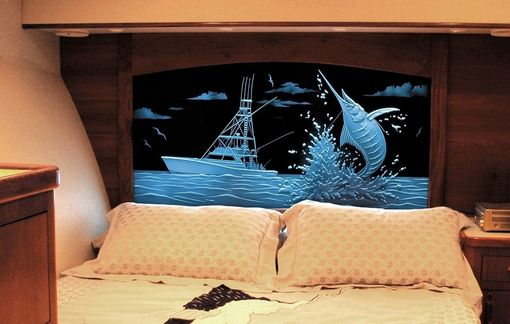 Custom Made Illuminated Carved / Etched Glass - Marlin Headboard