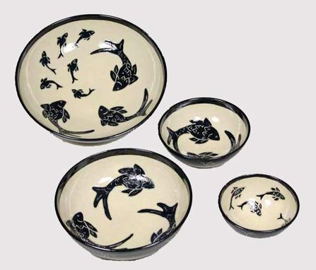 Custom Made Black And White Sgraffito Pottery Bowls Set