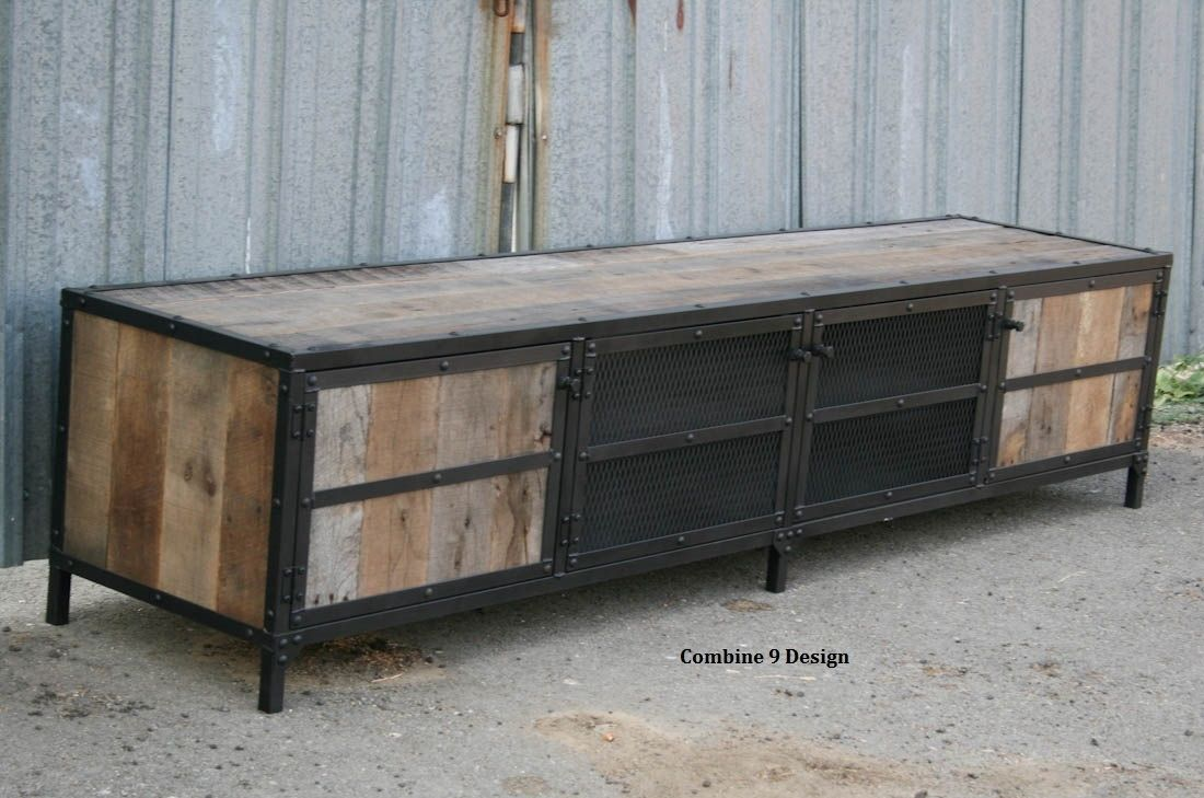 buy a hand made vintage industrial mid century modern media console or buffet steel reclaimed. Black Bedroom Furniture Sets. Home Design Ideas
