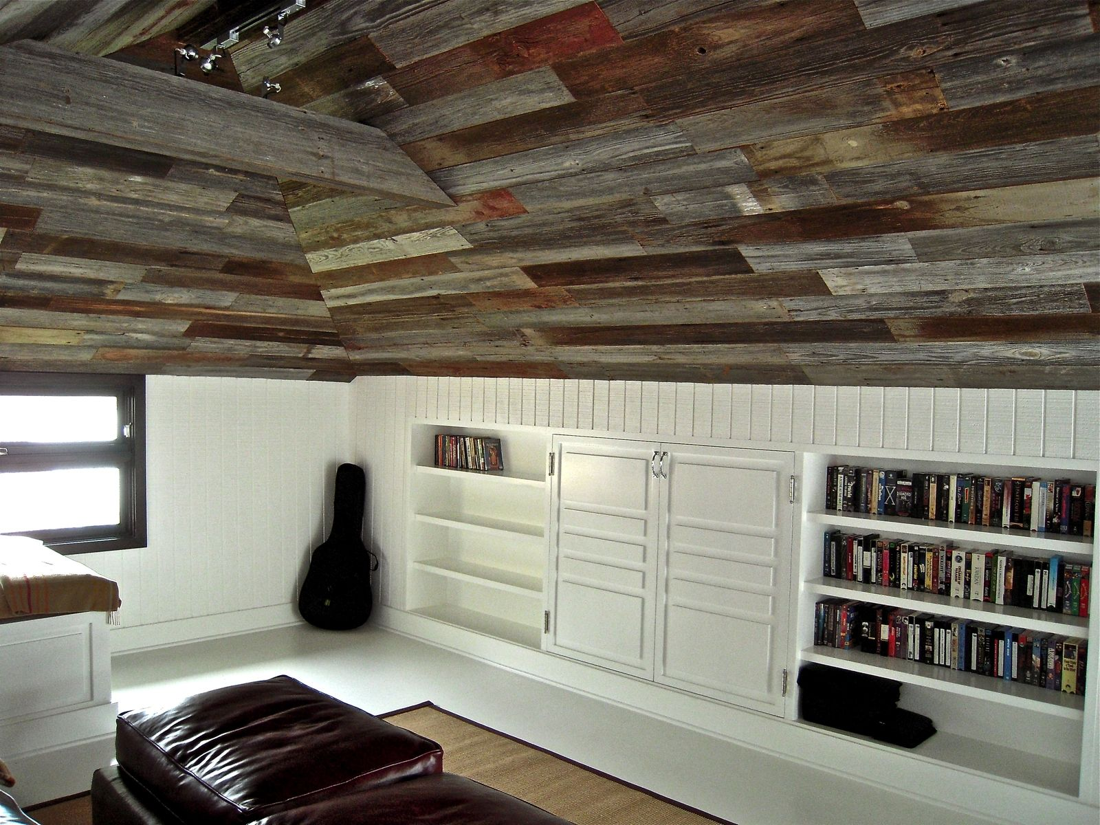 Hand Crafted Custom Built In Bookcases And Old Barn Wood Ceiling By Mortise Tenon Furniture