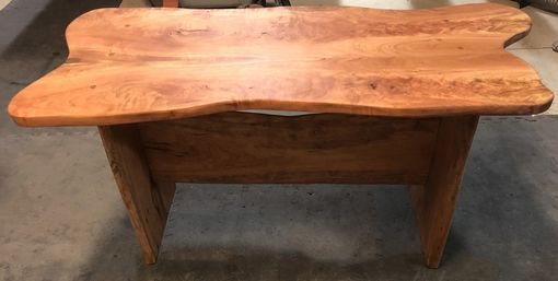 Custom Made Table Or Bench In Cherry Tree Slab With Bookend Top And Flames And Live Edges