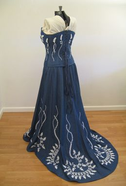 Custom Made Denim And Lace Corset Wedding Dress