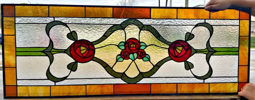 Custom Made Stained Glass Transom Window - Victorian Simplicity - Design 4 (Tw-53)