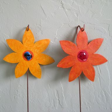 Custom Made Handmade Upcycled Orange And Yellow Metal Flower Garden Stakes In Set Of Two