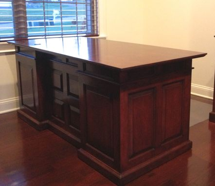 Custom Made Executive Desk With Matching Built In Bookshlef