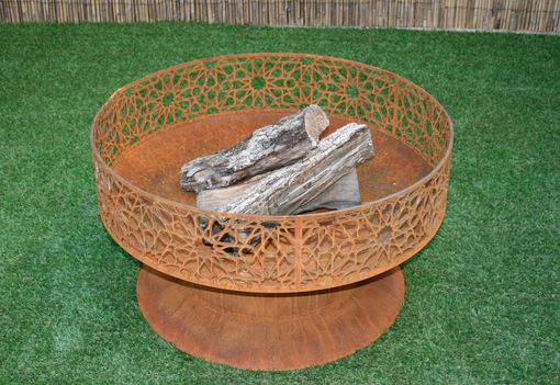 Custom Made Modern Fire Pit. All Steel Firepit. Mosaic Design. Steel Yard Art. Rustic Decorative Fire Pit