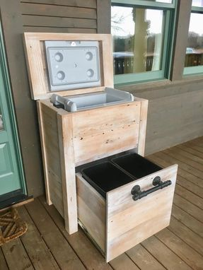 Custom Made Distressed Outdoor Cooler Cabinet
