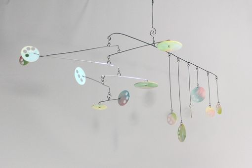 Custom Made Pastel Mobile - Circle Play - Kinetic Mobile Sculpture - Calder Style