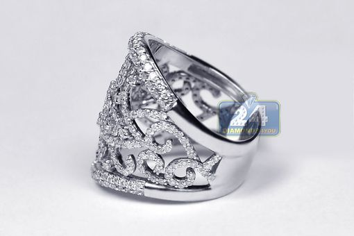 Custom Made Certified 18k White Gold 2.16 Ct Diamond Womens Openwork Wide Ring