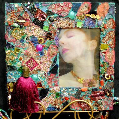 Custom Made Bohemian Sari Silk Theme Mixed Media Mosaic Frame For 5x7 Photo