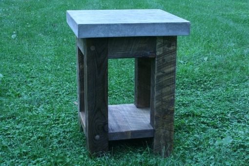 Custom Made Concrete Wood Side Table