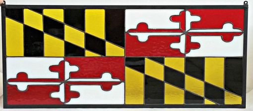 Custom Made Maryland Flag-Stained Glass Panel(P-142)