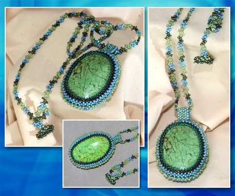 Custom Made Green Magnesite Beaded Pendant And Necklace