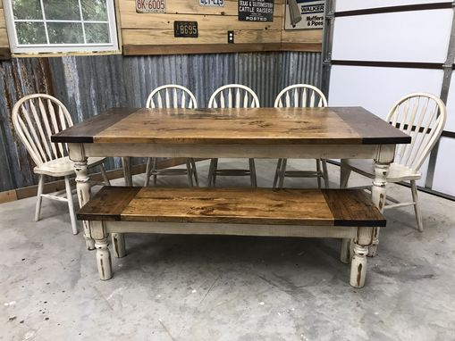 Custom Made Eight Person Classic Style Farmhouse Table