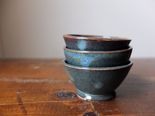 Custom Made 3 Prep Condiment Sauce Bowls Denim Blue Wheel Thrown Stoneware Ceramic Pottery By Gemfox Sra Usa