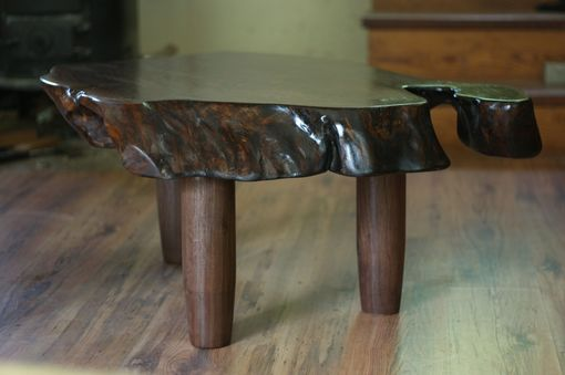 Custom Made Walnut Live Edge Coffee Table On Walnut Turned Legs