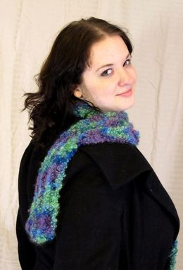 Custom Made Scarf, Curly Mohair, Jewel Tones, Crochet