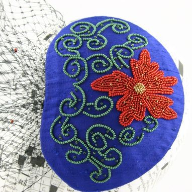 Custom Made Blue Fascinator With Beaded Red Flower And Veil, Porter Wagoner