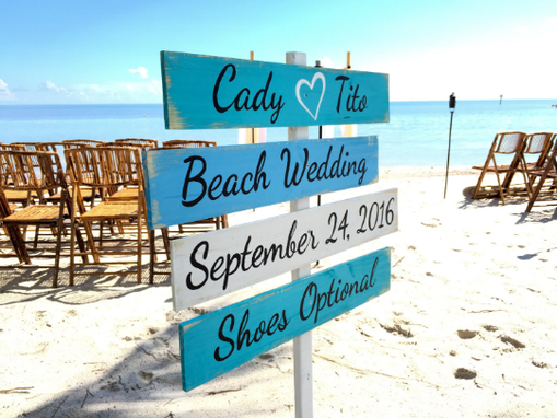 Custom Made Wood Nautical Directional Signs, Shoes Optional, Personalized Wedding Sign