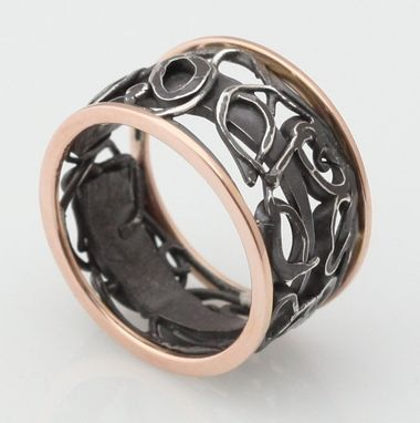 Custom Made 14k Rose Gold And Sterling Silver Collage Ring