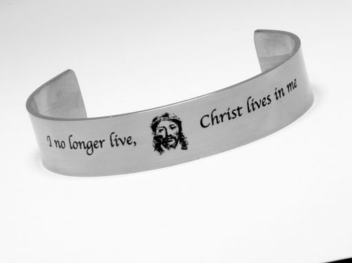 Custom Made Galatians 2:20 I No Longer Live Christ Lives In Me. Scripture Bracelet.Bible Bracelet Cuff