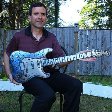 Custom Made Blue Stratocaster Electric Guitar Sculpture In Solid Aluminum