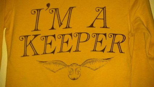 Custom Made Harry Potter Inspired I'M A Keeper And Golden Snitch Shirt, Yellow Child's Extra Small (4-5)