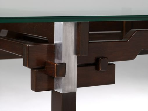 Custom Made Modern Glass And Wood Desk
