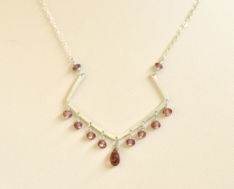 Custom Made Sterling Silver Necklace With Garnet Beads