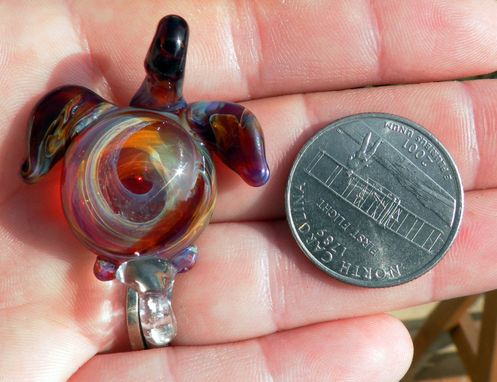 Custom Made Glass Sea Turtle Pendant Focal Boro Lampwork Hand Blown Amber Purple