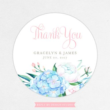 Custom Made Watercolor Floral Favor Tag