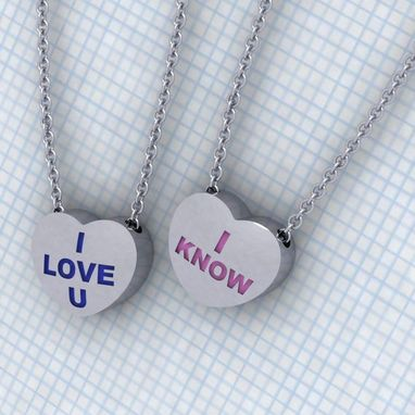 Custom Made Lovers Candy Heart Necklace Set - 2 Hearts