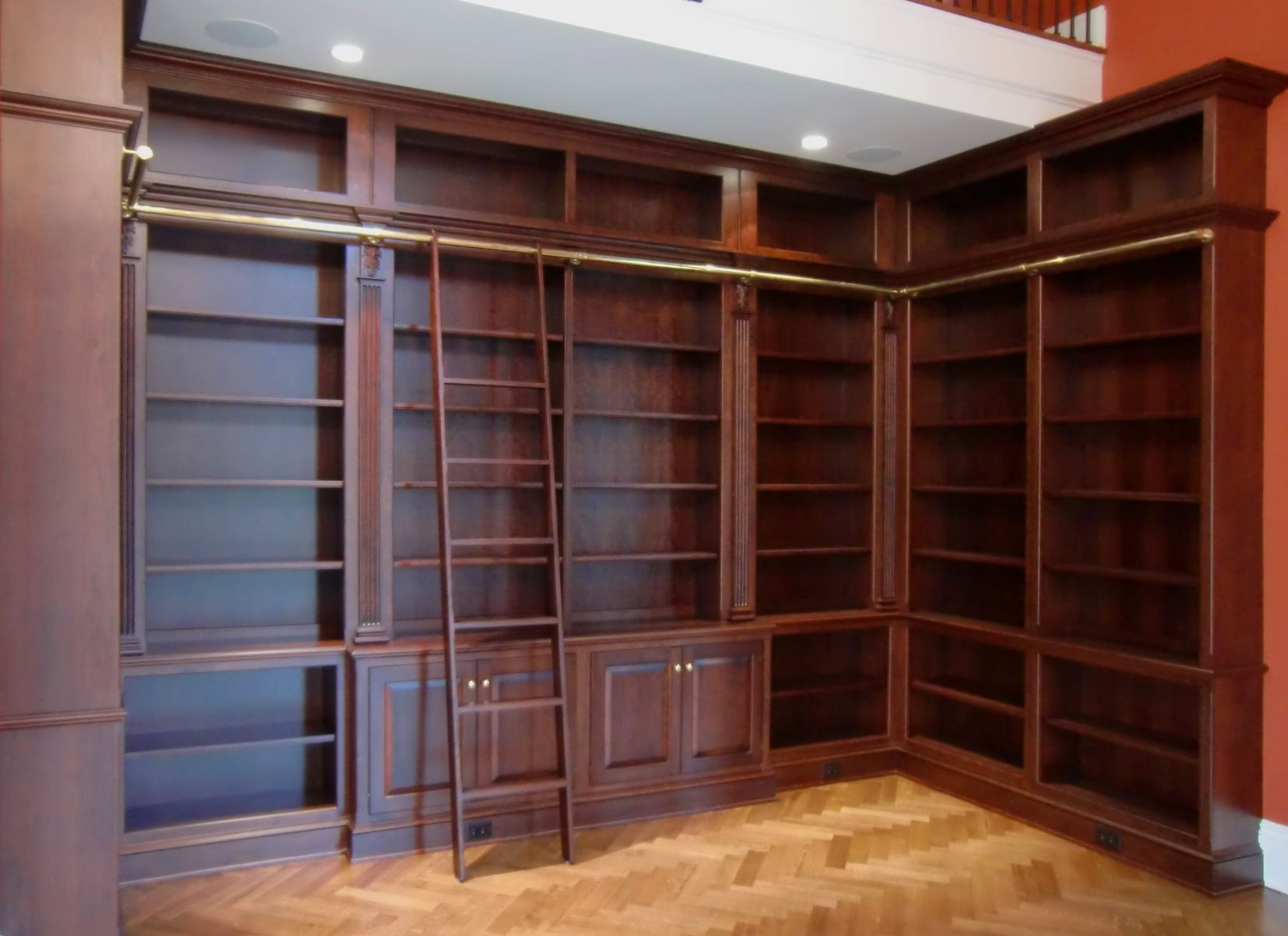 hand crafted library bookcases with ladder by odhner odhner fine woodworking inc. Black Bedroom Furniture Sets. Home Design Ideas
