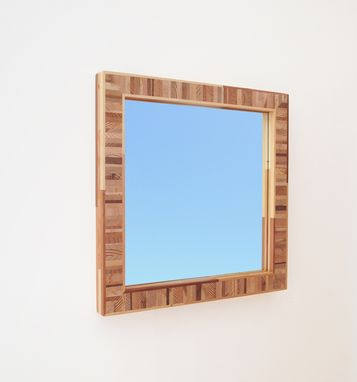 Custom Made Modern Wood Mirror, Salvaged Wood Frame, 24 Inches Square
