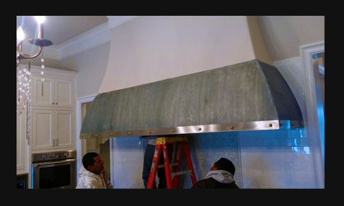 Custom Made Natural Zinc Vent Hood, Range Hood