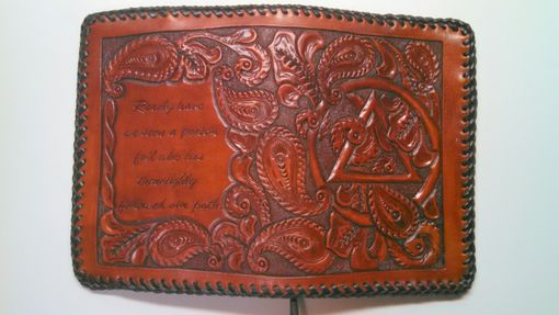 Custom Made Hand Carved Paisley Leather Big Book And Twelve And Twelve Cover