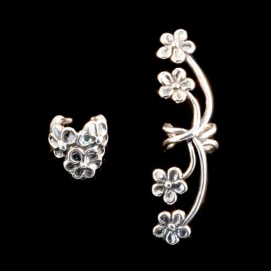 Custom Made Ear Cuff Special Flower Ear Cuff Combo Silver - Buy 2 Get 1 Ear Cuff Free