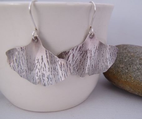 Custom Made Ginkgo Leaf Earrings. Forged Sterling Silver. Zen Metalwork Jewelry