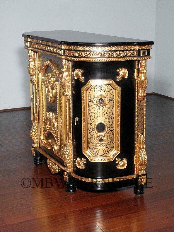 Custom Made Solid Mahogany Black  Gold Italian Buffet Sideboard