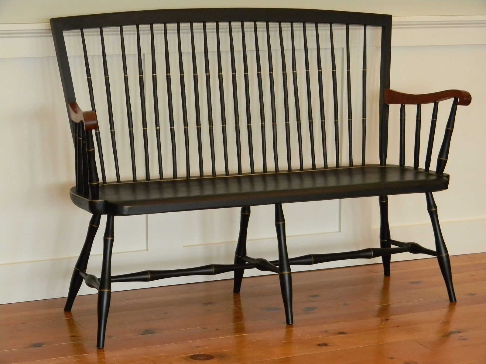 Antique Foyer Bench : Custom made windsor bench with cherry arms by t kelly