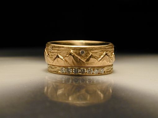 Custom Made Women's Hand Carved Mountain Wedding Ring